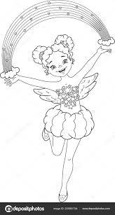 Regenboog Fairy Kleurplaat Stockvector Malyaka 203981744