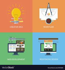 Design To Development Workflow Idea Design Web Development Workflow Icons Set