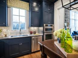 image of blue kitchen cabinets with chrome hardware