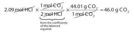 the molar ratio between co 2 and hcl comes from the balanced chemical equation