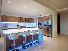 Kitchen, Interesting Lighting In The Kitchen Design Wooden Cabinet Blue Led  Light Under Table Bar