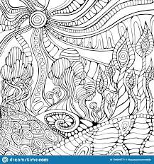 Doodle Surreal Landscape Coloring Page For Adults Fantastic