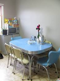 1950s chrome dining set in blue and cream we grew up with a pink one like this
