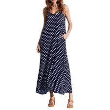 Plus Size Summer Dress <b>Women Polka Dot</b> Print V Neck <b>Sleeveless</b> ...