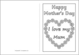 Mothers Day Card Template Mother's Day card colouring templates SB100 SparkleBox 2