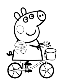 Small Picture Peppa pig on bike cartoon coloring pages for kids printable free