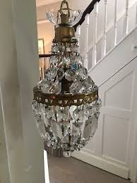 antique cut glass crystal basket chandelier brass coffin crystals