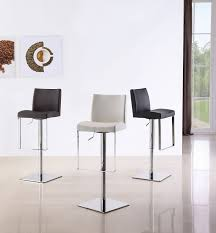 chrome modern bar stools white stain wall varnished wood floor tile black and leather seat back