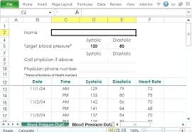 How To Graph Blood Pressure On Excel Free Blood Pressure Tracker Template For Excel Chart Create