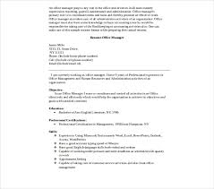 Office Management Resume 8 Office Manager Resume Templates Pdf Doc Free
