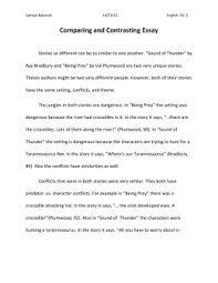 erika kohlhoff final copy of the essay a sound of thunder and being a sound of thunder reading questions comparing and contrasting essay