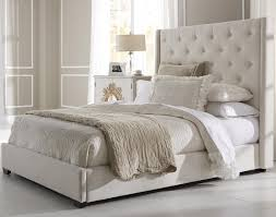 contemporary shelter fabric upholstered bed in cream  humble abode