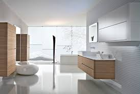 bathroom place vanity contemporary: natural oak vanity and white sink placed in modern bathroom design with clear glass wall