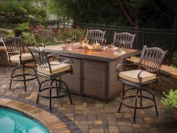 hexagon patio table firepit