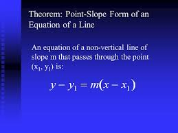 8 theorem point slope form of an equation of a line an equation of a non vertical line of slope m that p through the point x 1 y 1 is