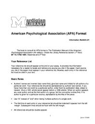 American Psychology Association Format Fillable Online American Psychological Association Apa Format Fax