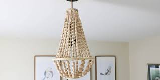 wood bead chandelier for lighting interior decoration ideas wood bead chandelier with white wall and