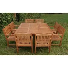 ia milano porto 9 piece eucalyptus wood square patio dining set