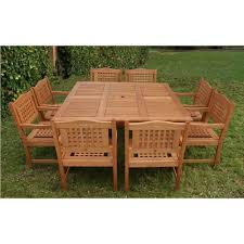 ia milano porto 9 piece eucalyptus wood square patio dining set