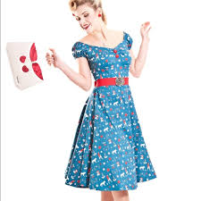 Collectif Red Riding Hood Rockabilly Cherry Dress Nwt