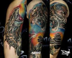 фото татуировки дракон и тигр в стиле авторский реализм татуировки
