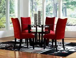 red dining room sets round glass dining table and red chairs for small