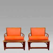 mid century modern furniture for sale. Plain Mid Pair Of Asian Style Armchairs In Orange Leather 1960s Furniture Co  Widdicombe Courtesy Bridges Over Time For Mid Century Modern Sale