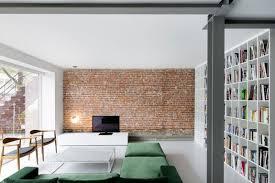 the brick living room furniture. Comfy Gray Sofa Black Polished Wooden Wall Corner Shelves Elegant Minimalist Furniture Style Sets Brick The Living Room A