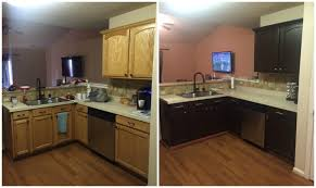 painted brown kitchen cabinets before and after. Perfect Brown Kitchen CabinetsRefinishing Cabinets Before And After Painted  Photos Intended Brown E