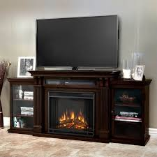 real flame ashley tv stand with electric fireplace in dark walnut