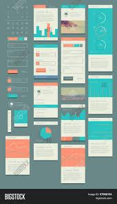 Page Design Templates Flat Ui Kit Web Vector Photo Free Trial Bigstock