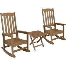 composite outdoor furniture brown all weather traditional plastic patio rocking chair with side table 2 set