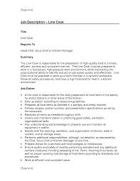 Cook Job Description For Resume Representation Runnerswebsite