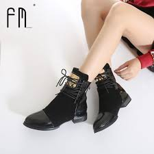 35 43 women boots genuine leather flat martin ankle boots womens motorcycle boots autumn shoes women winter patent leather botasshoes