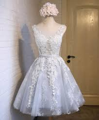 Gray tulle <b>lace applique short</b> prom dress, gray bridesmaid dress