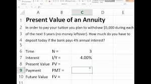 Present Value Of Ordinary Annuity In Excel