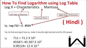 Hindi Calculate Logarithm Using Log Table Log And Antilog Calculation