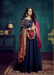 Salwar Kameez Latest Designs Online Navy Blue Embroidered Taffeta Silk Salwar Kameez Latest Designs Online