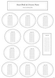reception table seating chart template wedding round tables