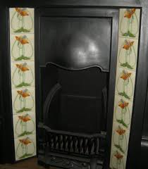 stylised art nouveau fireplace tiles ref 016 set