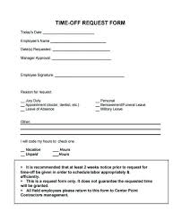 Personal Time Off Request Form Simple Time Off Request Form In Echotrailers