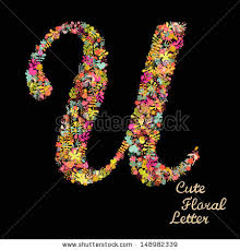 stock vector the letter u bright floral element of colorful alphabet made from flowers petals hearts and