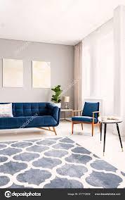 Elegante Wohnzimmer Interieur Mit Eine Dunkel Blaue Couch Und Einen