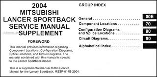 2004 mitsubishi lancer sportback wiring diagram manual original this manual covers all 2004 mitsubishi lancer sportback models including ls ralliart wagon this book is in new condition measures 8 5 x 11 and is