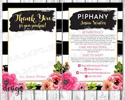 piphany thank you care card stylist post card piphany return exchange policy black stripe fl
