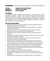 Job Description For Warehouse Operations Manager Template