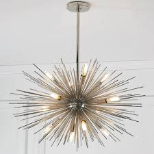 midcentury lighting. Mid-Century Modern Moonbeam Chandelier - 12-Light Polished_nickel Midcentury Lighting G