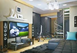 kids bedroom with tv. Super Cool Teen Boy Room Ideas Modern Gray Color Large TV Home Fitness Corner Kids Bedroom With Tv S