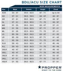 Propper Size Chart Bdu Shirt Acu Coat New Spec
