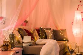 Download Fairy Lights In Teen Bedroom Stock Image   Image Of Modern, Decor:  64720707